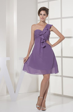 Lilac Casual A-line Sleeveless Zipper Chiffon Knee Length Bridesmaid Dresses