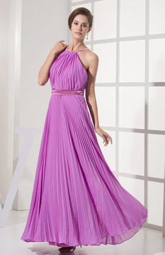Orchid Elegant Sleeveless Zip up Floor Length Ribbon Evening Dresses