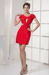 Sexy Sheath Jewel Short Sleeve Silk Like Satin Short Evening Dresses