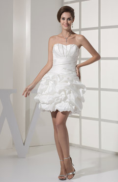 White Sexy Hall Sweetheart Sleeveless Taffeta Mini Bridal Gowns