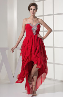 Red Sexy A-line Sweetheart Sleeveless Floor Length Tiered Party Dresses