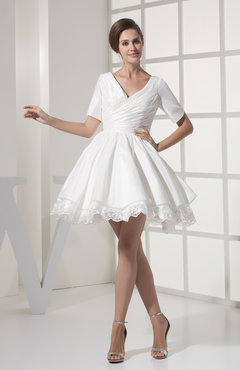 White Traditional Garden V-neck Short Sleeve Taffeta Short Ruching Bridal Gowns