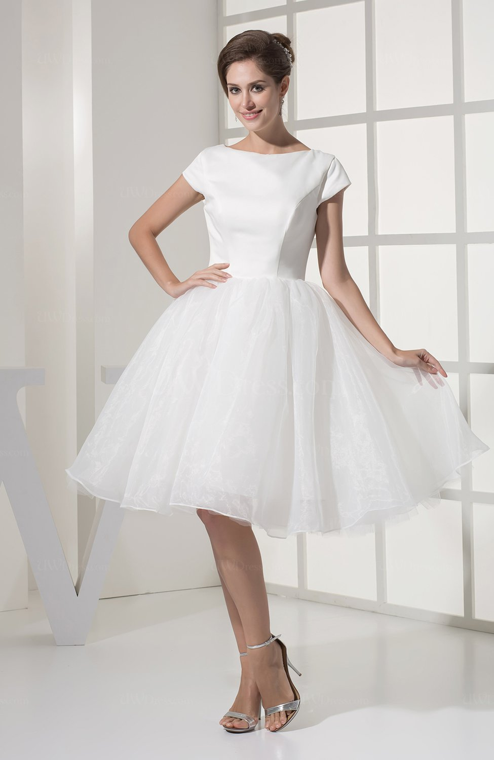 Modest beach baby doll sabrina organza knee length for Baby doll style wedding dress