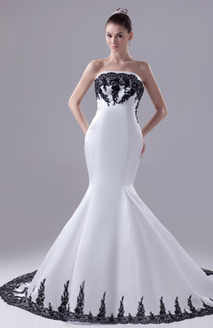 White Modern Garden Strapless Sleeveless Satin Appliques Bridal Gowns
