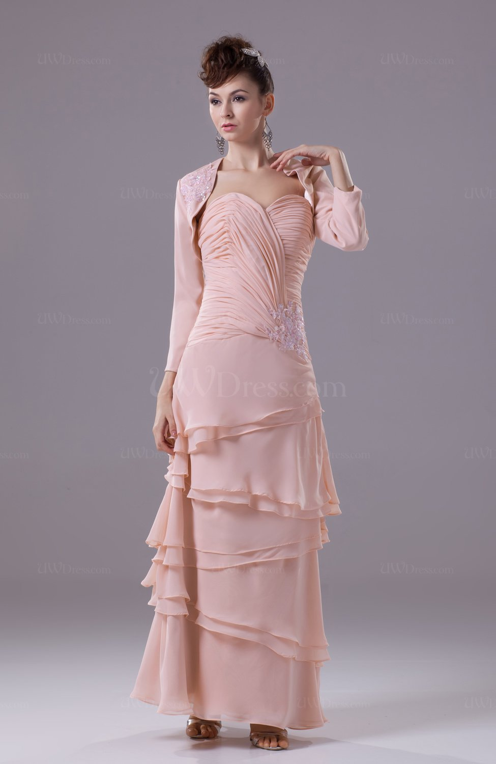 Peach vintage sheath sleeveless chiffon floor length for Vintage wedding guest dresses