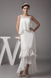 Simple Garden Jewel Sleeveless Tea Length Tiered Bridal Gowns