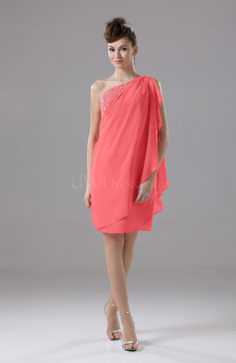 Bridesmaid dresses m uwdress coral cute sheath sleeveless backless knee length cocktail dresses ombrellifo Image collections