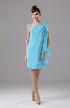 Light Blue Cute Sheath Sleeveless Backless Knee Length Cocktail Dresses