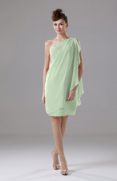 Pale Green Cute Sheath Sleeveless Backless Knee Length Cocktail Dresses