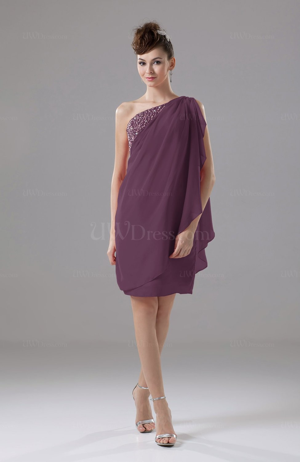 Plum Cute Sheath Sleeveless Backless Knee Length Cocktail Dresses ...