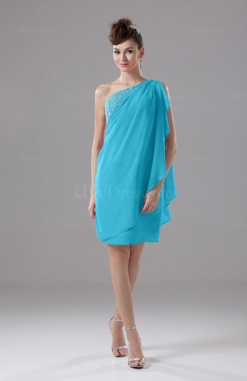 Turquoise Cute Sheath Sleeveless Backless Knee Length Cocktail ...