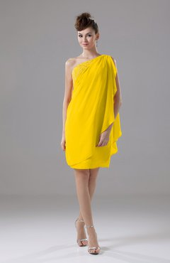Yellow Cute Sheath Sleeveless Backless Knee Length Cocktail Dresses