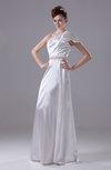 Modern Garden A-line One Shoulder Half Backless Rhinestone Bridal Gowns