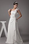 Modest Church A-line Illusion Half Backless Chiffon Ribbon Bridal Gowns