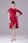 Modest A-line Half Backless Silk Like Satin Knee Length Ruching Graduation Dresses