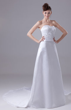White Modest Garden Strapless Zipper Satin Chapel Train Bridal Gowns