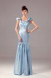 Modest Square Zip up Silk Like Satin Floor Length Beaded Prom Dresses