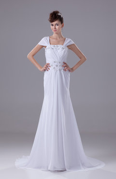 White Modest Garden Square Short Sleeve Court Train Lace Bridal Gowns