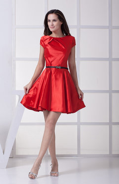 Plain A-line Zipper Silk Like Satin Mini Sash Homecoming Dresses