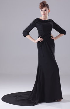 Black Simple Garden A-line Bateau Elbow Length Sleeve Zipper Court Train Bridal Gowns