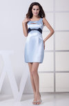 Simple Column Jewel Silk Like Satin Mini Rhinestone Wedding Guest Dresses