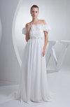 Cinderella Church A-line Short Sleeve Chiffon Flower Bridal Gowns