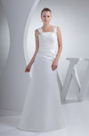Simple Hall Thick Straps Backless Satin Floor Length Bridal Gowns