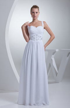 White Modest Church A-line Sweetheart Sleeveless Zip up Appliques Bridal Gowns