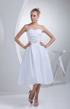 White Cute Outdoor A-line Sleeveless Taffeta Tea Length Bridal Gowns