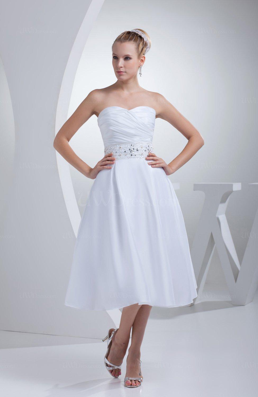 White cute outdoor a line sleeveless taffeta tea length for Cute white wedding dresses