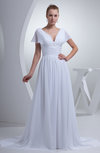 Plain Hall A-line V-neck Short Sleeve Chiffon Court Train Bridal Gowns