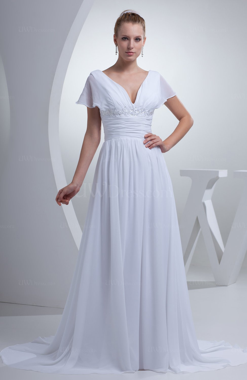 White plain hall a line v neck short sleeve chiffon court for Petite wedding dresses with sleeves
