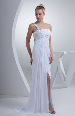 White Sexy Empire Asymmetric Neckline Sleeveless Chiffon Appliques Graduation Dresses