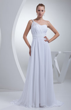 White Elegant Outdoor A-line Zipper Chiffon Sweep Train Ribbon Bridal Gowns