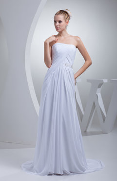 White Elegant Hall A-line Strapless Chiffon Sweep Train Beading Bridal Gowns