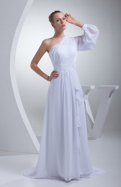 White Classic Outdoor Long Sleeve Half Backless Chiffon Sweep Train Ribbon Bridal Gowns