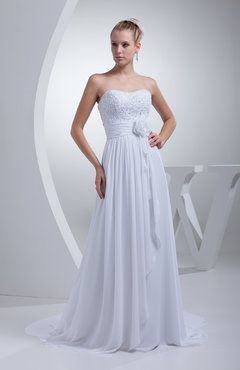 White Elegant Garden A-line Strapless Sleeveless Chiffon Pleated Bridal Gowns