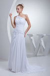 Cute Garden One Shoulder Backless Chiffon Appliques Bridal Gowns