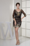 Mature Sheath V-neck 3/4 Length Sleeve Zipper Homecoming Dresses