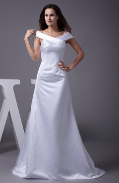 White Plain Church A-line Short Sleeve Zip up Satin Plainness Bridal Gowns