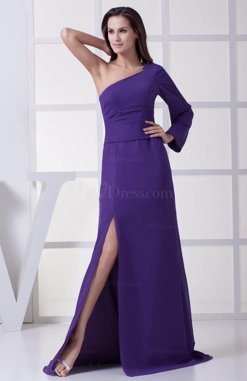Royal purple modern a line one shoulder zipper split front for Modern wedding guest dresses