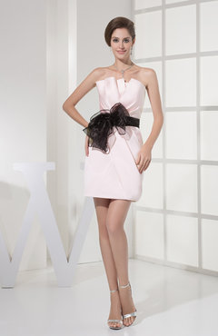 Blush Simple Asymmetric Neckline Satin Short Sash Bridesmaid Dresses