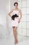 Simple Asymmetric Neckline Satin Short Sash Bridesmaid Dresses