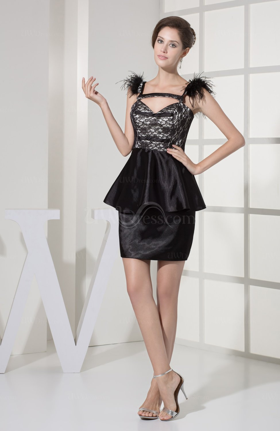 Black sexy sheath backless silk like satin short lace for Sexy dresses for wedding guests