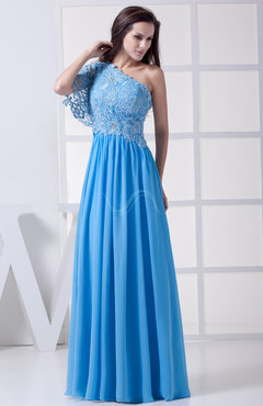Cornflower Blue Plain A-line One Shoulder Half Backless Floor Length Lace Bridesmaid Dresses
