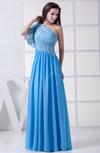Plain A-line One Shoulder Half Backless Floor Length Lace Bridesmaid Dresses