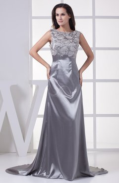 Silver Gorgeous Boat Sleeveless Zip up Elastic Woven Satin Court Train Prom Dresses