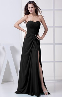 Black Modest A-line Sweetheart Chiffon Floor Length Bridesmaid Dresses