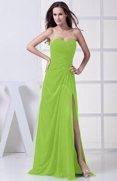 Bright Green Modest A-line Sweetheart Chiffon Floor Length Bridesmaid Dresses