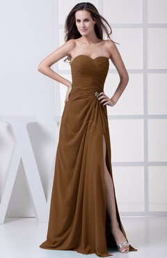 Brown Modest A-line Sweetheart Chiffon Floor Length Bridesmaid Dresses